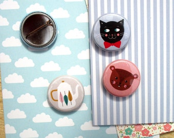 Small badge 25 mm ' black cat-squirrel or theiere ' to choose from 3 motifs