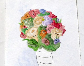 Custom Wedding Bouquet Portrait | Watercolor Keepsake | Bridal Party  | Anniversary  | Illustration  | Personalize  | Priority Shipping