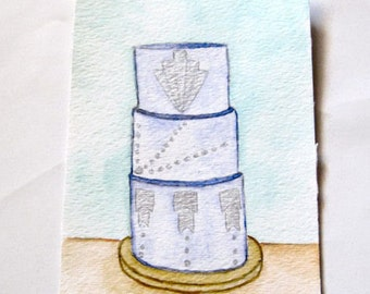 Custom Watercolor Wedding Cake Portrait  |  Keepsake  |  Bridal Party  | Anniversary  |  Illustration  |  Personalize | Priority Shipping