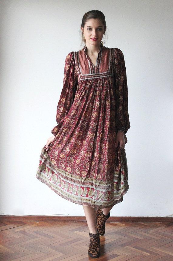 vintage 70s long sleeve ethnic dress size small boho india dress