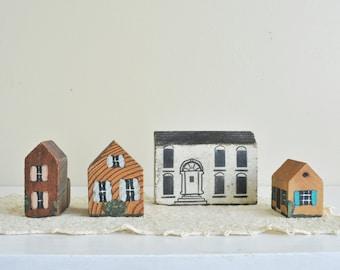 Four Vintage Wooden Handmade Houses,  Wooden Homes,  Hand Painted Houses, Instant Neighborhood, Red Door