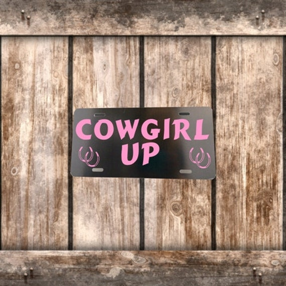License Plate - Black with Pink Cowgirl Up and Horseshoes