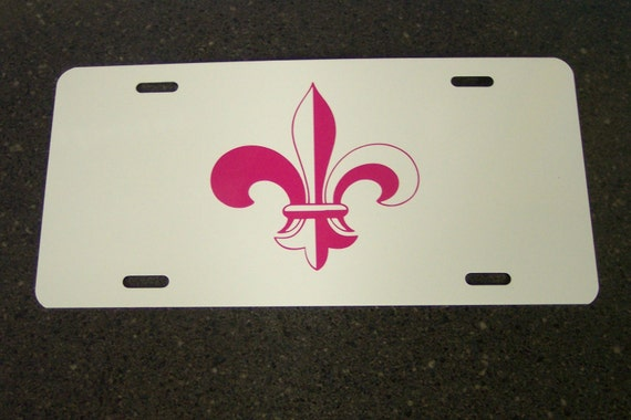 License Plate - White with any Color Fleur De Lis