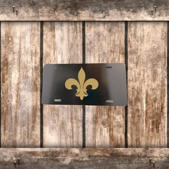 Gold Fleur de Lis on Black License Plate