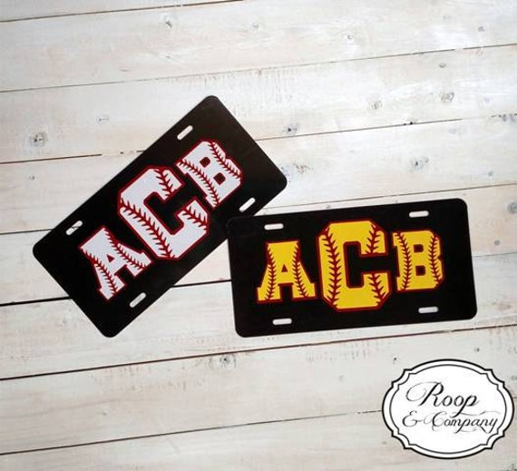Softball or Baseball Monogram License Plate