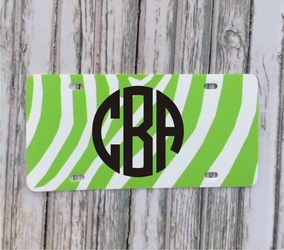 Monogram License Plate - Lime Green zebra stripe