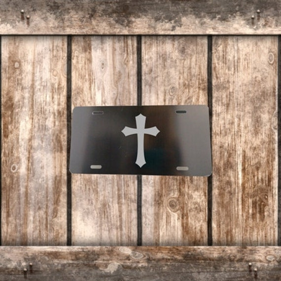 License Plate - Black with Silver Cross