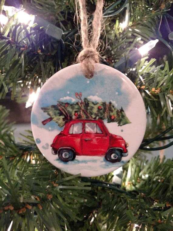 "Ceramic Ornament - Round Christmas Ornament "" Bringing Home the Tree"""