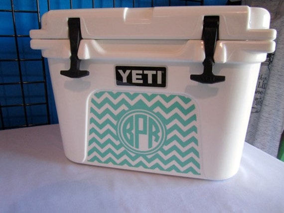 Cooler Decal - Chevron and Monogram