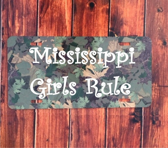 Monogram License Plate - camo mississippi girls rule