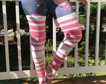 Pink and White Striped Thigh High Yoga/Dance Socks