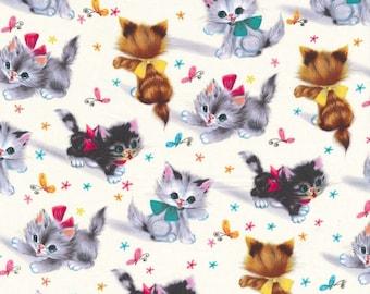 Michael Miller Fabric Retro Kitties, yards