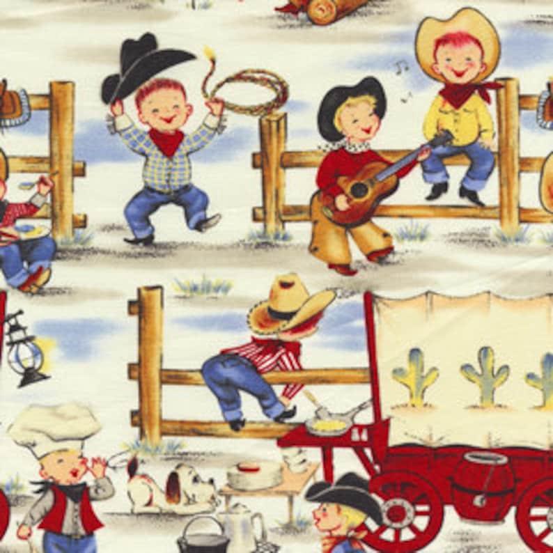 Michael Miller Lil Cowpokes Retro Cowboy Western Fabric yards image 0