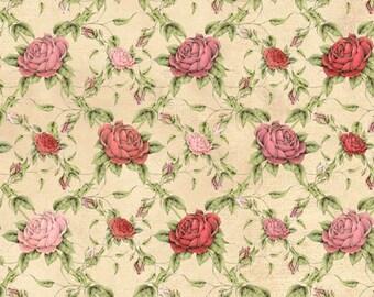 Quilting Treasures Fabric La Vie En Rose, Rose Trellis fabric- yards