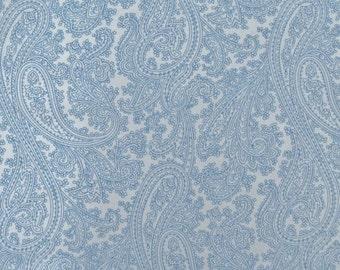 Michael Miller Fabric Posh Paisley, Blue on Cream Paisley Fabric, yards
