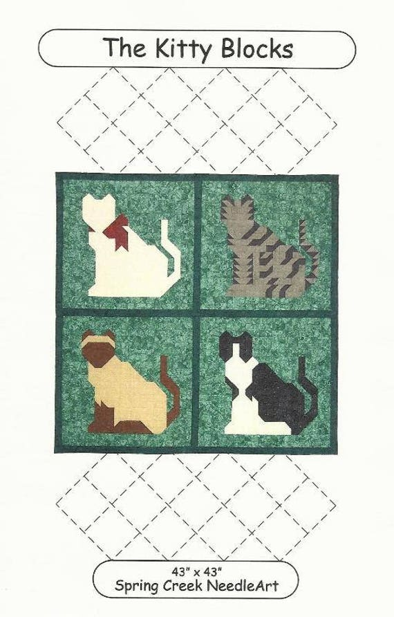 The Kitty Blocks Quilt Pattern From Spring Creek Needleart Etsy
