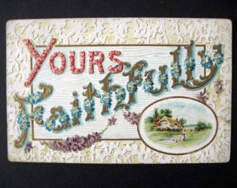 Antique 1912 EASTER postcard ~*~ blue forget me not flower airplane and white bunny ~*~ green 1-cent George Washington stamp