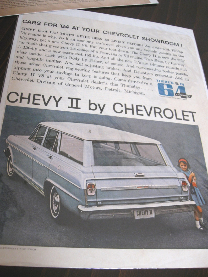 Set of Four (4) Classic Car Ads - 1960's - Chevrolet - Body by Fisher -  Includes One Full-Page Ad