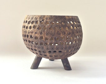 Vintage Coconut Shell Candle Stand Candle Holder