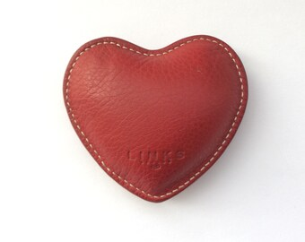 Vintage Links Of London Red Heart Leather Paper Weight