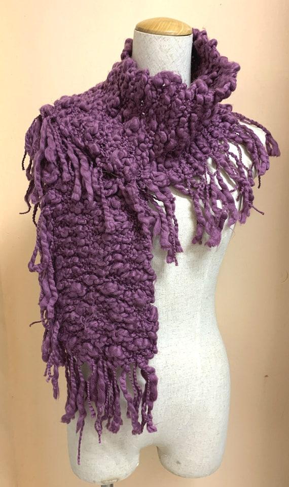 90s Vintage Handmade Wool Long Scarf Fringe Scarf