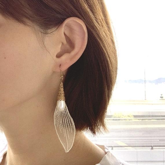 Vintage Filigree Pearl Drop Earrings Lace Pearl Ea