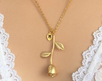 Gold Rose Necklace Pendant   Personalized   Valentine's Day Gift   Girlfriend Gift   Anniversary Gift