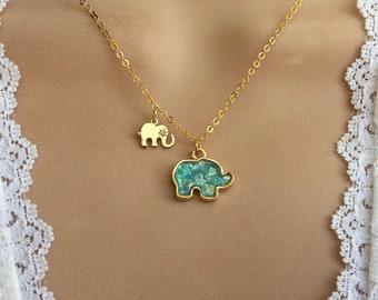 Elephant & Baby Necklace, Elephant Jewelry, Elephant Baby Necklace, gold Elephant Necklace