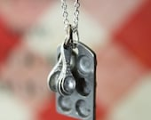 Bakers Love Cupcake Muffin Pan and Tiny Measuring Spoons on a Sterling Silver Chain