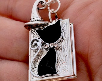 Cat And Witch Hat Necklace - Cat Locket Pendant- Cat Lovers Necklace -Cat Locket- Cat Jewelry
