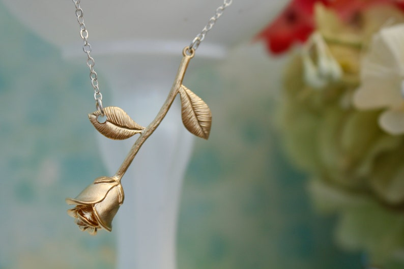 Rose Necklace Anniversary Gift Gold Rose Necklace Women/'s Jewelry Mothers Day,Girlfriend Gift gift for her