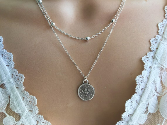 Bohemian Multi Layer Coin Disc Beaded Necklace Jewelry  Silver Chain decor T
