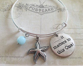 Starfish Bracelet Bangle Silver Starfish Bracelet Nautical Jewelry It Matters to This One, Gift for her