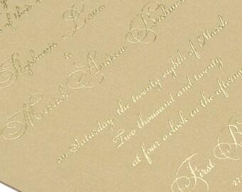 Elegant Type Gold wedding invitations