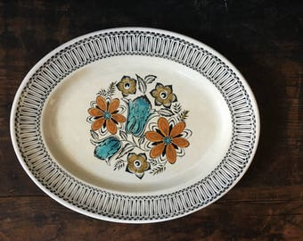 Vintage Broadhurst Platter, English Ironstone, Kathie Winkle Plate, Seychelles, Retro Flowers, Retro Kitchen, Orange Flowers