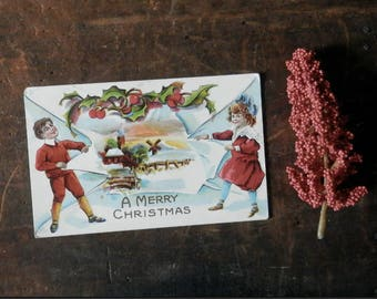 Vintage Christmas Postcard, Holiday Card, Merry Christmas, Antique Greeting Card, Holly, Berries, Snowy Scene