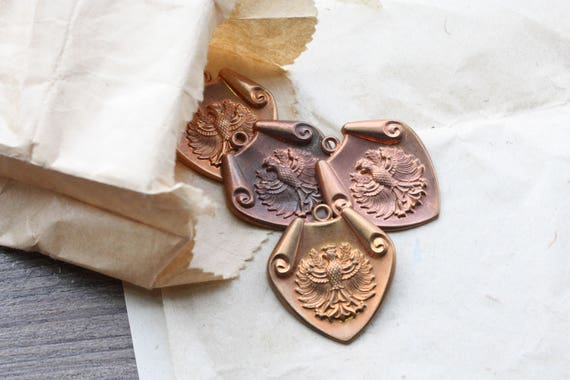 Vintage 1950s Copper Royal Phoneix Coat of Arms Shield Crest Pendants // 40s 50s Heraldic Medieval Stampings // NOS Jewelry Craft Supply