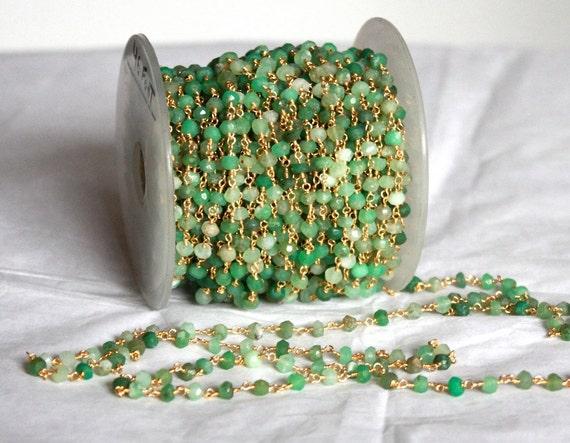 Pierres Chrysoprase 10 pieds avec or plaqué fil chaîne main enveloppé