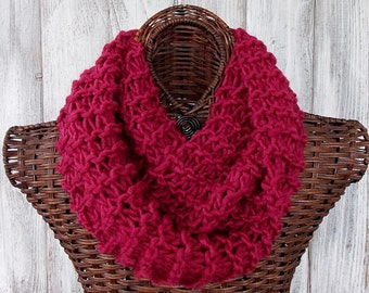 Knitted infinity scarf in raspberry very soft and light wool blend fashion accessory