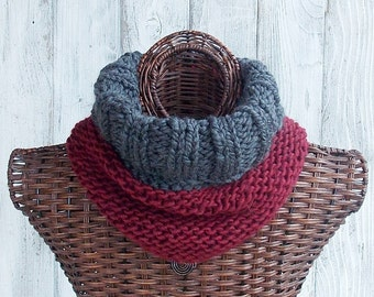 SALE Cowl knitted in grey and maroon with ribbed top, fashion accessory for women