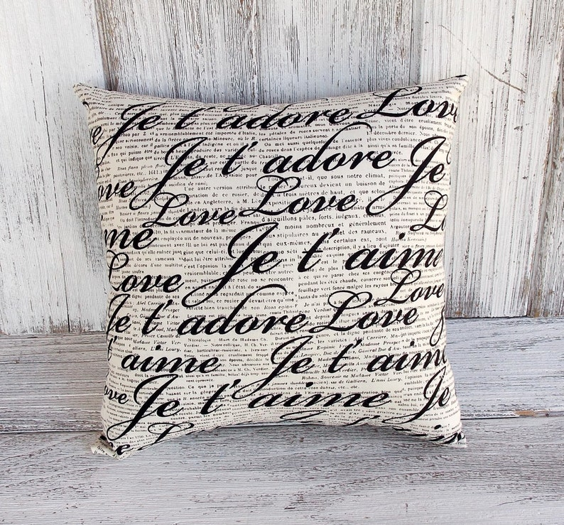 script love messages in black with translations and vintage text romantic home decor French pillow cushion