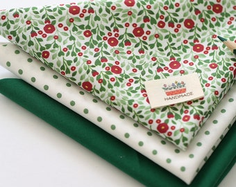 Green floral on Cotton FAT Eighth set of 3, U314