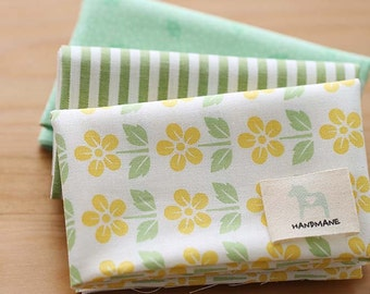 Pure Green Floral on Cotton FAT Eighth set of 3, U250
