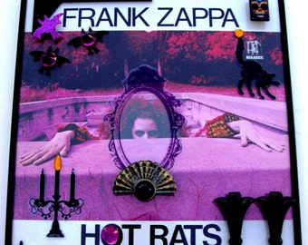 """FRANK ZAPPA """"Hot Rats"""" Framed Vinyl Record 3D Art On Glass 1969 Gatefold Jazz Collectable Bizarre Label Mothers of Invention Purple Black"""