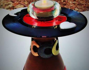 "TONY BENNETT Vinyl Record Art & Votive ""I Left My Heart In San Francisco"" 1962 Original 7"" Record 45 Assemblage 3D CandleHolder Tabletop Art"