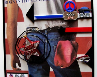 Born In The USA BRUCE SPRINGSTEEN Framed Album w/Record Inside 3D Custom Tribute Art Over Glass Vietnam Veterans E Street Band Classic Rock