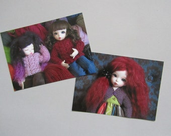 Set of two cute Postcards - Warm colours