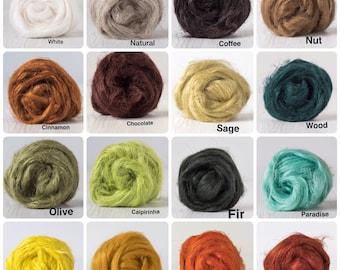 Knitting Wet Nuno Needle Felting Spinning Beaver Weaving 100g//3.5oz Crafts Extra Fine Merino Wool Roving