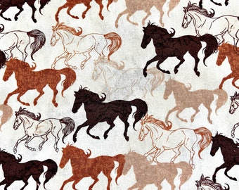 Animal Tradition Horses in the Prairies Wild Horse Cotton Fabric Fat Quarter
