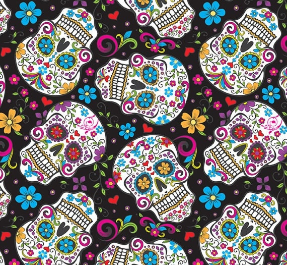skulls sugar day of the dead flowers on black background etsy